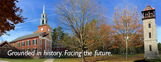 Grounded in History. Facing the Future. Image of First Congregational Church of Stockbridge in Autumn.