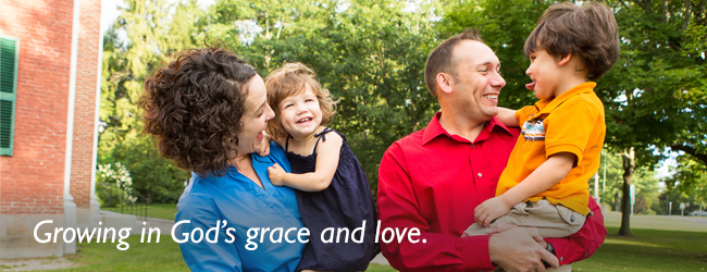 Growing in God's grace and love. Image of a mother, father, and two children.