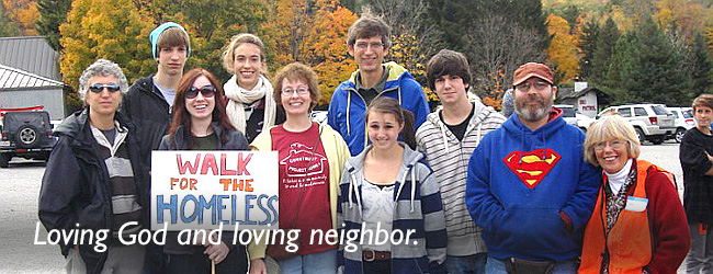 Loving God and loving neighbor. A group of people participate in the Construct, Inc. Walk to prevent homelessness.