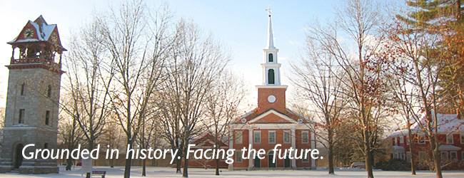 Grounded in history. Facing the future. Image of the First Congregational Church of Stockbridge in winter.