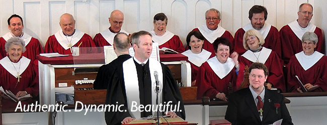 Worship: Authentic. Dynamic. Beautiful. Image of Rev. Brent Damrow preaching.