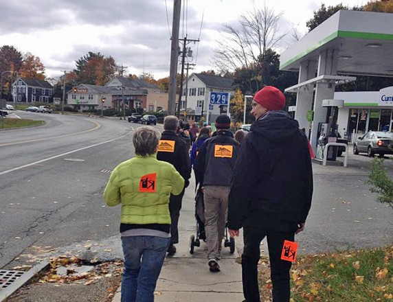 Walkers from the First Congregational Church of Stockbridge on Main Street in Great Barrington